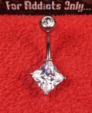 Clear Princess Cut Gem Belly Ring