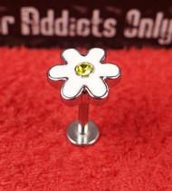 Silver Enamel Flower Flat Back Monroe 16g 5/16
