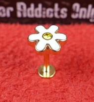 Gold Enamel Flower Flat Back Monroe 16g 5/16