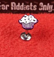White Purple Enamel Cupcake Flat Back Monroe 16g 5/16