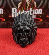 Matte Black Native Skull Ring