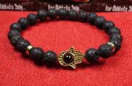 Lava Rock Gold Hamsa Bracelet