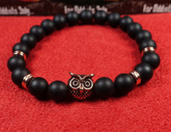 Matte Onyx Rose Gold Owl Bracelet