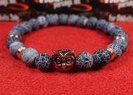 Blue Stone Rose Gold Owl Bracelet