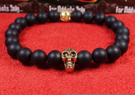 Matte Onyx Gold Skull Bracelet