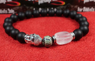 Matte Onyx Quartz Silver Buddha Bracelet