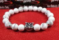 White Agate Silver Owl Bracelet