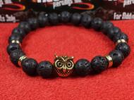 Lava Rock Gold Owl Bracelet