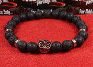 Lava Rock Rose Gold Owl Bracelet