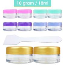 10G/10ML Plastic Cosmetic Sample Jars with Spatulas