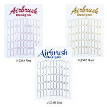 50 Slot Airbrush Designs Nail Tips Display Board - (Blue, Gold, Red)