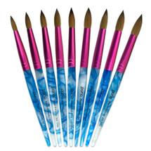 Pana Kolinsky Brush with White Swirl Blue Acrylic Handle