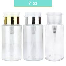 7 Oz Plastic Pump Dispenser Bottle - Colors: Clear, Gold, Silver