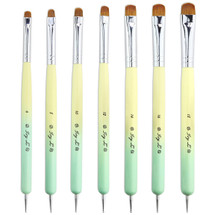 IVY L FRENCH MANICURE GEL NAIL BRUSH & DOTTING TOOL WITH YELLOW AND GREEN OMBRE WOOD HANDLE