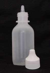2 oz. Plastic Bottle Natural Cylinder with Nipple/Cap