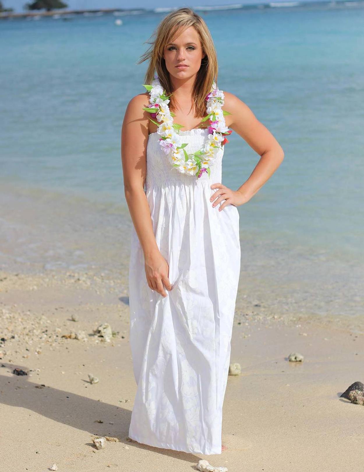 Maxi Smocked Top Long Hawaiian Wedding Dress 100 Cotton Fabric Tube Design