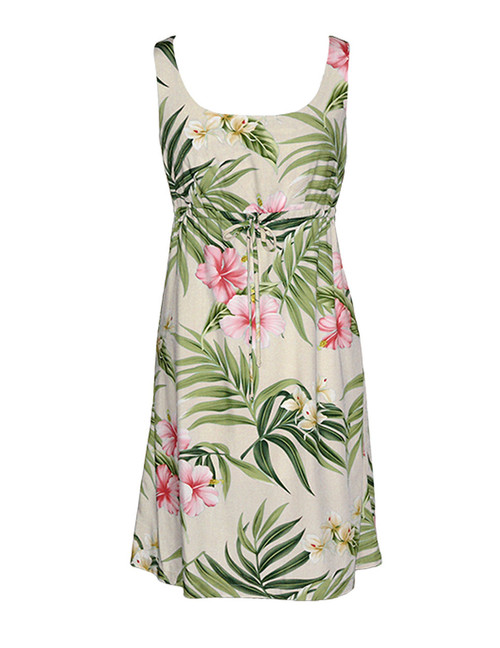 Nalani Style Tank Rayon Dresses Front Tie Adjustable 100% Rayon Front String Tie Easy Adjustable Fit Square Neck Design Empire Drawstring Look Colors: Beige Sizes: XS - 3XL Made in Hawaii - USA Matching Items Available