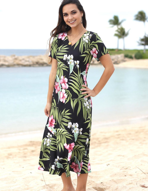 Nalani Long Rayon Dresses Maxi V-Neck Tea Length 100% Rayon Fabric Tea Length Cap Sleeves Bias Cut V-Neck Design Mid Calf Length Comfortable Style Colors: Black Sizes: XS - 2XL Made in Hawaii - USA