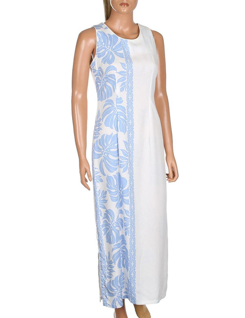 Prince Kuhio Wedding Design Long Sleeveless Dress Sleeveless Maxi Dress Style 100% Rayon Soft Fabric 2 Side Slits & Seamless Back Zipper Colors: White/Blue Sizes: S - 3XL Made in Hawaii - USA