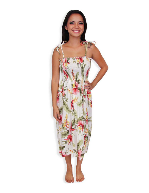 Smock Top Hawaiian Dress Orchid Pu'a 100% Rayon Fabric Color: Beige Length: 33 Inches from Bust Line Size: One Size fits most Made in Hawaii - USA