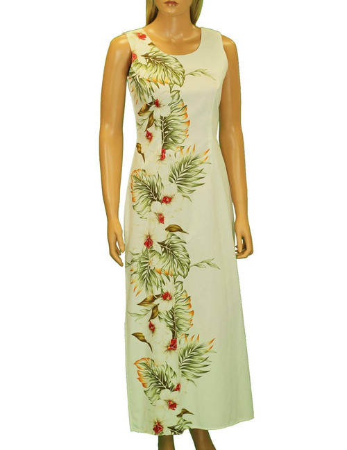 "Hilo Long Maxi Tank Hawaiian Dress Side Border Band Long Maxi Tank Design 100% Cotton Fabric 2 Slits - 19"" Long on Both Sides Back Zipper Colors: White Sizes: S - 2XL Made in Hawaii - USA Matching Items Available"