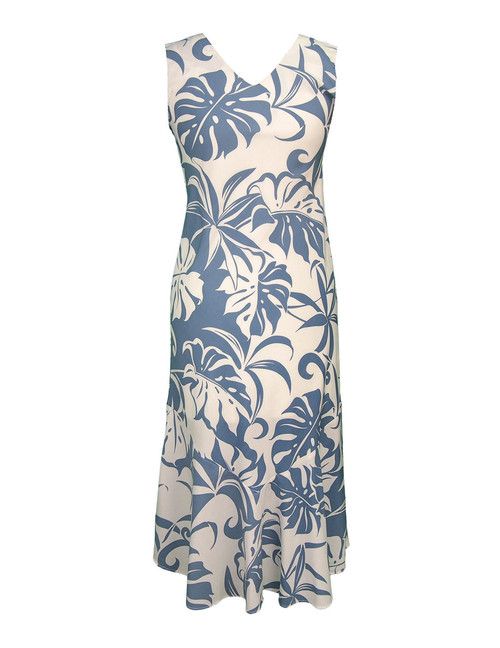 V-Neck Sleeveless Tea Length Dress Makena 100% Rayon Fabric - Soft and Classy Maxi Sleeveless - Comfortable Style Bias Cut V-Neck - Mid Calf Length Color: Blue Sizes: XS - 3XL Made in Hawaii - USA