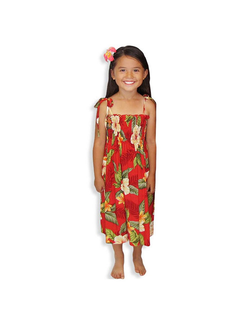 """Ula Ula Hibiscus - Rayon Dress for Girls 100% Rayon Color: Red One Size fits All (3 to 12 years old) Length: 21"""", 24"""", 28"""" From the bust Made in Hawaii - USA"""