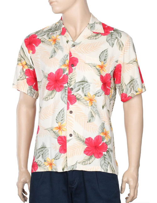 Ula Ula Hibiscus Rayon Aloha Shirt 100% Rayon - Soft and Classy Open Collar - Relaxed Modern Fit Coconut shell buttons - Matching left pocket Color: Cream Sizes: S - 4XL Made in Hawaii - USA
