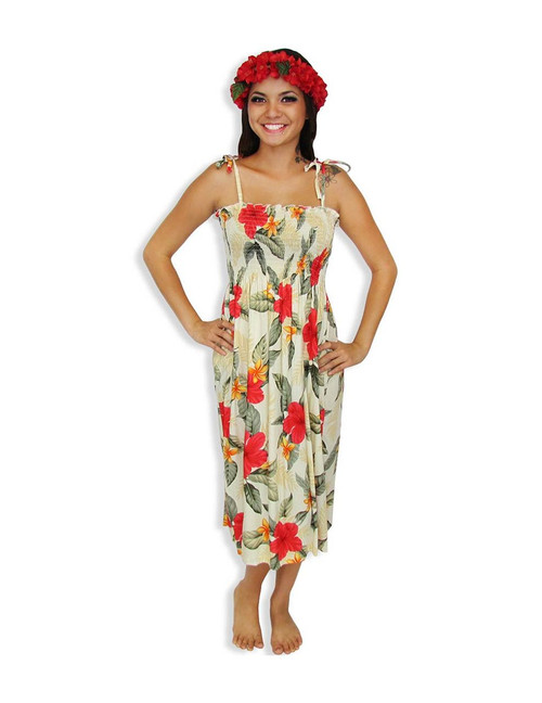 """Ula Ula Hibiscus Mid-length Spaghetti Dresses 100% Rayon Color: Cream Length: 33"""" (mid size) Size: One Size fits most Made in Hawaii - USA"""
