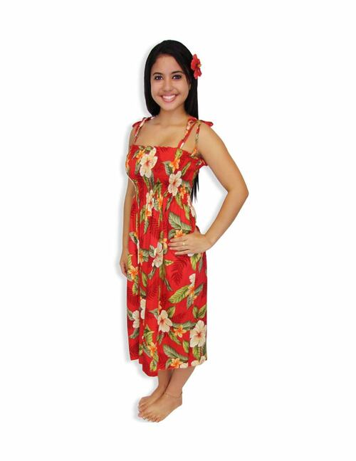 """Tube Top Midi Hawaiian Dress Kahula Hibiscus 100% Rayon Color: Red Length: 33"""" (mid size) Size: One Size fits most Made in Hawaii - USA"""