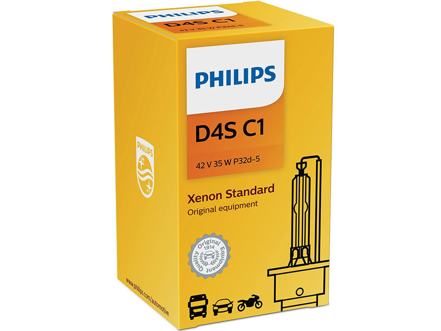 Enclosed package of Philips D4S Xenon HID Standard OEM 4300K 42402C1 headlight bulb with COA Label