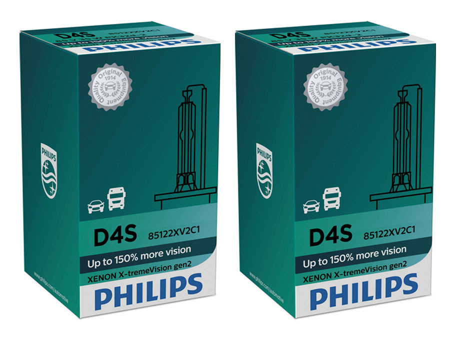 Set of Philips X-treme Vision +150% HID Xenon headlight bulbs 42402XV2C1