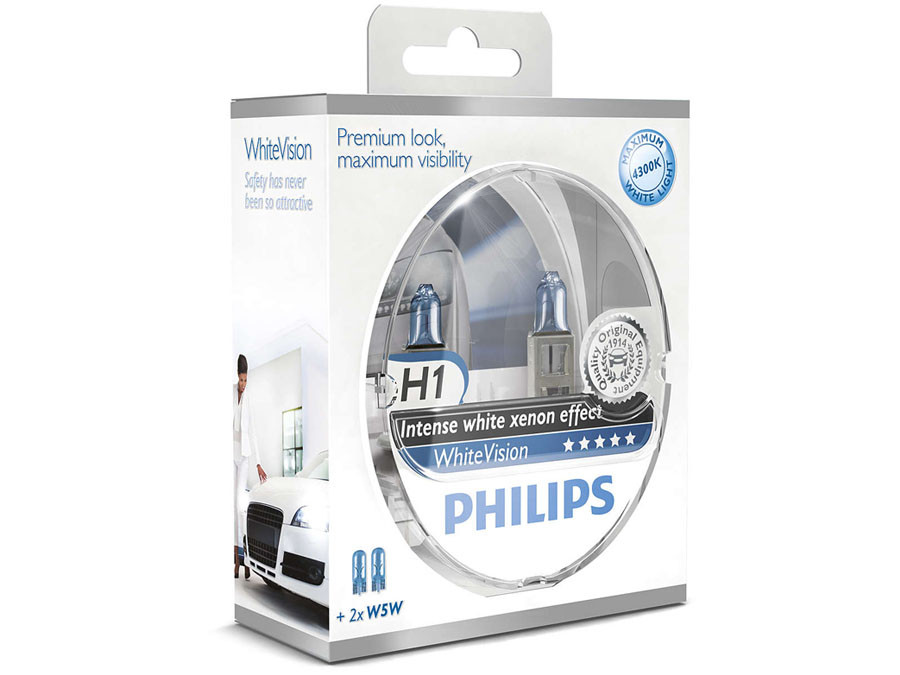 Dual package of Philips White Vision halogen bulbs 12258WHVSM H1