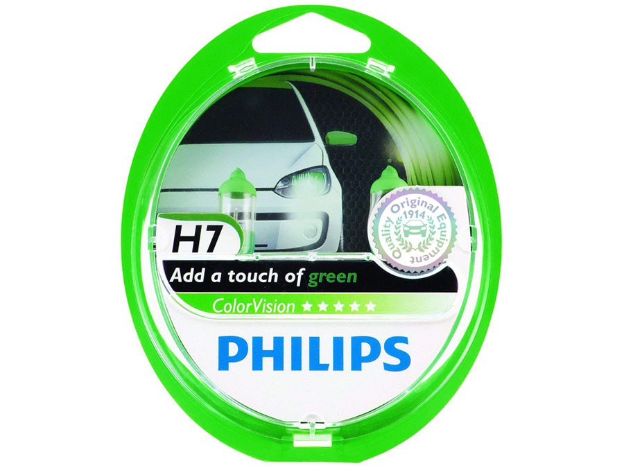 Dual package of Philips Green Color Vision halogen bulbs 3350K 12972CVPGS2 H7