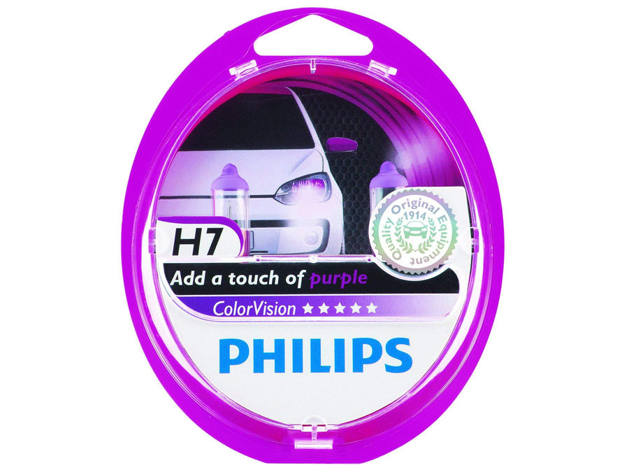 Dual package of Philips Purple Color Vision halogen bulbs 3350K 12972CVPPS2 H7