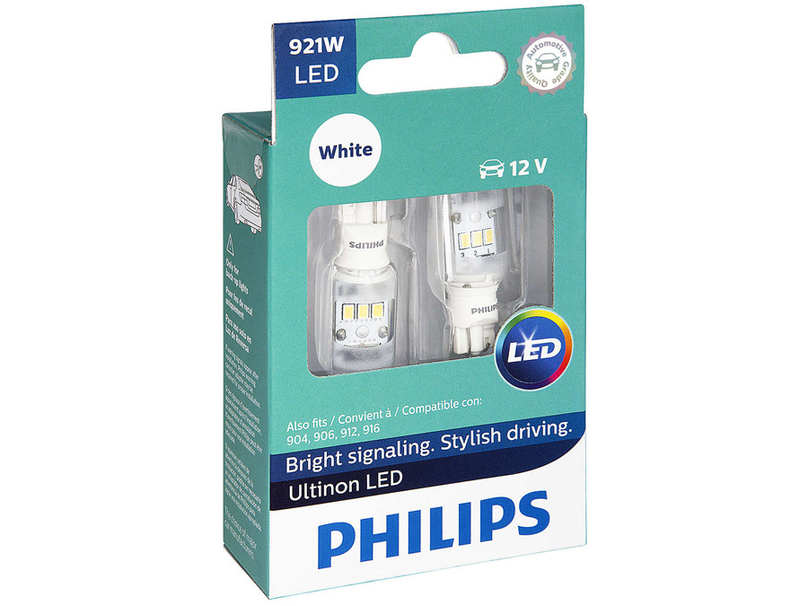 Enclosed package of Philips Ultinon LED White Interior/Exterior bulbs 921