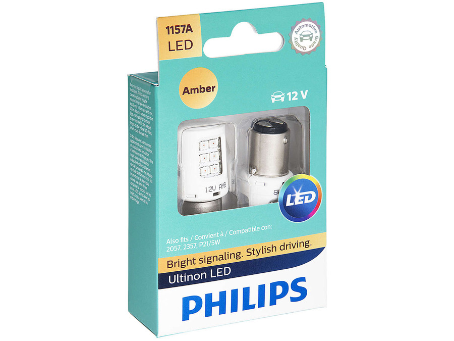 Enclosed package of Philips Ultinon LED Amber Interior/Exterior bulbs 1157