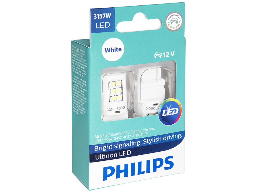 Enclosed package of Philips Ultinon LED White Interior/Exterior bulbs 3157