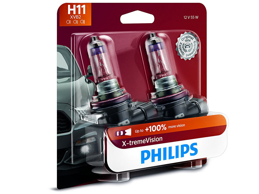 Enclosed package of Philips X-treme Vision +100% H11
