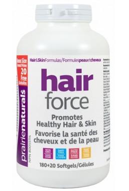 Prairie Naturals Hair Force, 180 + 20 Free Softgels | NutriFarm.ca