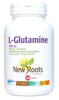 New Roots L-Glutamine 500 mg, 120 Capsules | NutriFarm.ca
