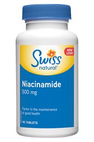 Swiss Natural Niacinamide 500 mg, 90 tablets | NutriFarm.ca