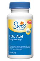 Swiss Natural Folic Acid 1mg, 90 Tablets   NutriFarm.ca