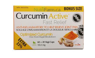 AOR Curcumin Active, 60 + 20 FREE Veg Capsules | NutriFarm.ca