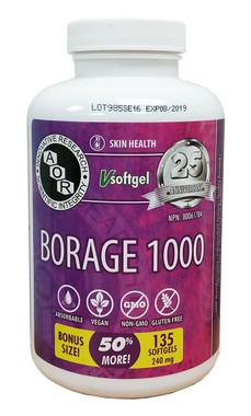 AOR Borage 1000, 90 + 45 FREE Softgels    NutriFarm.ca