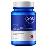 SISU B12 5000 mcg Sublingual Methylcobalamin Cherry, 60 Tablets   NutriFarm.ca