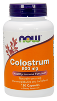 NOW Colostrum 500 mg, 120 Vegetable Capsules | NutriFarm.ca