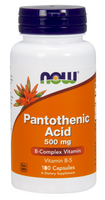 NOW Pantothenic Acid 500 mg, 180 Capsules | NutriFarm.ca