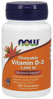 NOW Vitamin D-3 1,000 IU Chewable, 180 Chewables | NutriFarm.ca