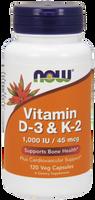 Vitamin D3 and K2, 120 Vegetable Capsules   NutriFarm.ca